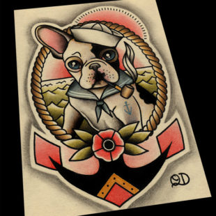 11x14 Frenchie Sailor Tattoo Flash
