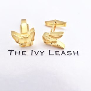 French Ivy Yellow Gold Cuff Links