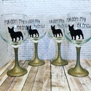 Pardon My Frenchie - Wine Glass - Glitter Stem